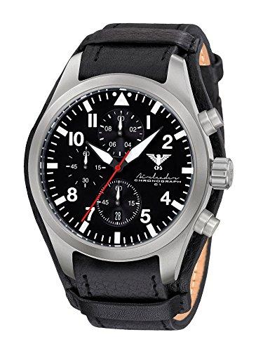 KHS Reloj para Hombre Analógico Cuarzo con Brazalete de Cuero KHS.AIRSC.R