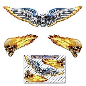 Schädel Flügel Groß unheimlich lustige Autoaufkleber Motorrad Vinyl Aufkleber ST00020_3 - JAS Aufkleber