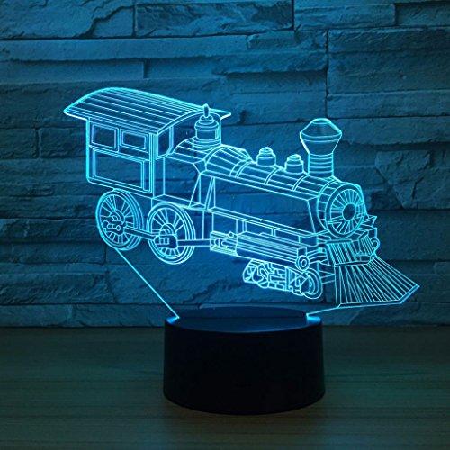 YXYH Lokomotive 3D Lichter Bunte LED Visuelle Lichter Geschenke Kleine Schreibtischlampe Bunte Touch Led Lichter USB Tischlampe Nachtlicht Kreative Geschenke Acryl Tischlampe Heiße Nacht Lernen Lampe Dekorative Kreative Lampe