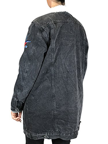 Hailys Damen Winterjacke Jeansjacke mit Patches Oversize Look Schwarz