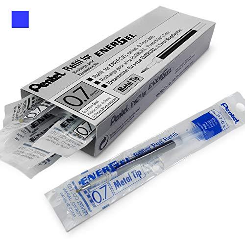 Energel Pentel LR7Kugelschreiberminen mit Metallspitze zum Nachfüllen, 0,7mm, für Energel Xm, BL77/BL57/BL37 - blaue Tinte, 12 Stück -