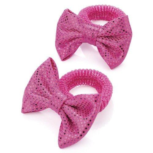 2 filles Bow élastiques métallique rose vif/bandes aj27576