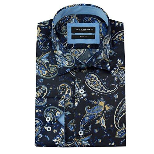 Slim Fit Herren blau, Seide, Paisley-Hemd in italienischem Design, für Hochzeiten, Partys, Gr. S-4XL (Aus Hemden Italienische Seide)