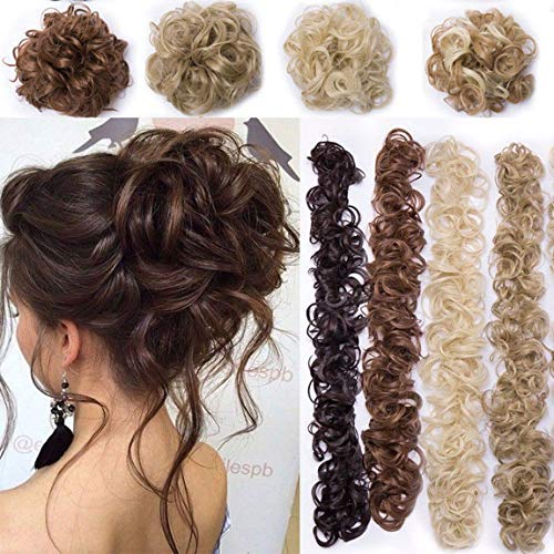 Bun Up Do Hair Piece Hair Ribbon Ponytail Extensions Wavy Curly Donut Hair Chignons Wig Light Brown Ash Blonde Hairpiece