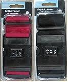 2x Gepäckriemen Koffergurt mit 3-stelligem Zahlenschloss