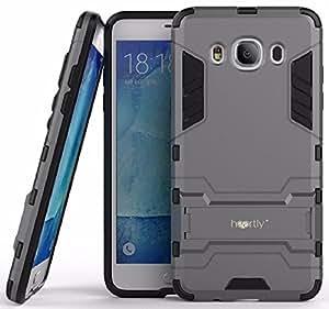 Heartly Samsung Galaxy J5 (2016) Back Cover Graphic Kickstand Hard Dual Rugged Armor Hybrid Bumper Case - Metal Grey