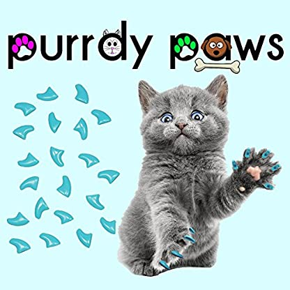 Purrdy Paws 40-Pack Soft Nail Caps For Cat Claws SKY BLUE * KITTEN Brand 1