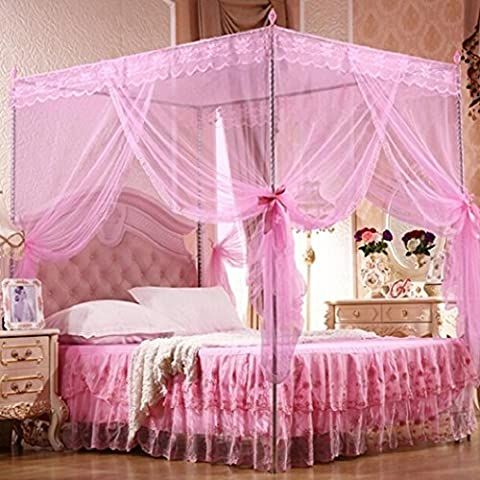 Bluelans® 4 Corner Post Bed Canopy Mosquito Net, Netting Bedding, Twin/Full/Queen/King, Pink