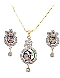 IGP Fashion Jewellery Gold Plated Chain With Cz Studded Jubilant Peacock Pendant With Scintilating Pair Of Earrings...