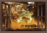 Artland Qualitätsbilder I Wandbilder Selbstklebende Wandfolie 130 x 90 cm Tiere Haustiere Pferd Foto Orange B8DN Fensterblick Goldenes Licht auf der Pferdewiese