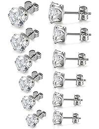 JewelryWe Pendientes Circonita Brillante, Pendientes Pequeños para Hombre Mujer, Clásicos Redondos de Color Blanco, Acero Inoxidable 3-8mm