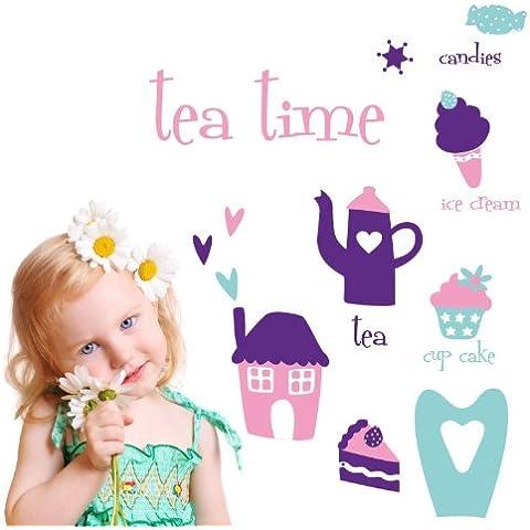 MYVINILO - Vinilo infantil - tea time violeta / rosa / menta (150 x 100 cm)