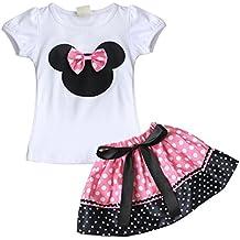 iEFiEL Conjunto de Camiseta y Pantalones Cortos o Falda de Verano para Bébes y Niñas con Lunares