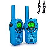 Debonice 2 pezzi Walkie Talkie per Bambini Ricetrasmettitore 8 Canali VOX CTCSS 0.5W PMR446 Licenza Gratuita con Torcia per Escursioni All'aperto Campeggio (Blu)