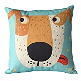 Elviros Dekorativ Baumwoll Leinen Mix Kissenbezug 45 x 45cm-Karikatur Hund
