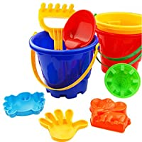 Dapei 7Pcs Sand Toys Kids Beach Toy Castle Bucket Spade Shovel Rake Water Tools Children Favor