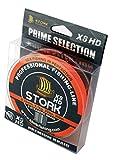 Stork HDx8, 8-Fach geflochtene premium Angelschnur 300m (Orange, 30 lbs / 13.6 kg / 0.22 mm)