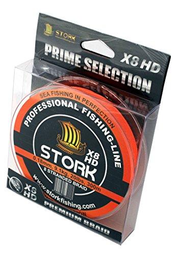 Stork HDx8, 8-Fach geflochtene premium Angelschnur 300m (Orange, 40 lbs / 18.1 kg / 0.28 mm) 300 Fishfinder