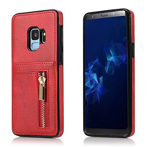 Yobby Hülle für Samsung Galaxy S9,Ultra Slim Retro PU Leder Brieftasche Handyhülle mit Kartenfach Rückseite und Reißverschluss,Stoßfest Bumper Schutzhülle für Samsung Galaxy S9-Rot -
