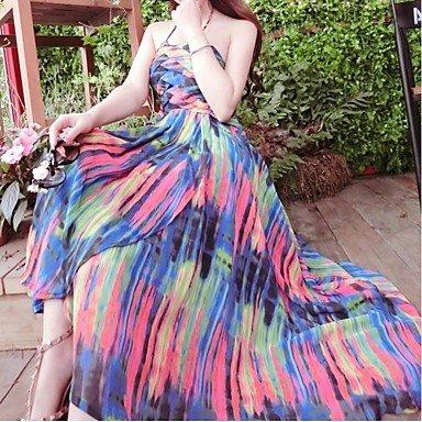 PU&PU Robe Aux femmes Mousseline de Soie / Swing Bohème,Arc-en-ciel Licou Maxi Soie / Polyester ROYALBLUE-L