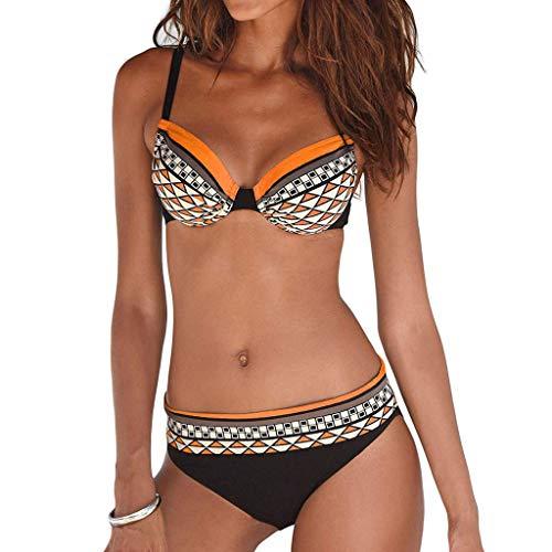 Junjie Frauen Blumendruck Bikini Set Schwimmen bauchweg Set Triangel Badeanzüge Badebekleidung Strandanzug Orange, Weinrot, Rosa, Lila, Grün, Blau, Weiß, Rot