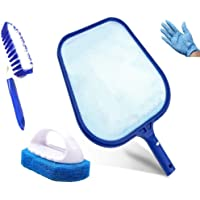 KAHEIGN Hot Tub Cleaning Kit, Swimming Pool Skimmer with Paddling Pool Brush, Scrubber Pad, Gloves for Garden Pond Hot Tub Spa Fountain Fish Tank