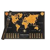 Rubbel Weltkarte CNDT Scratch Off World Travel Map Weltkarten Poster Schöne Erinnerung an Bisherige Reisen für Jeden Welt Reise Globetrotter Weltenbummler Urlauber Backpacker (Schwarz,50 cm x 72 cm)