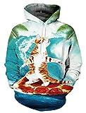 Causal Kapuzenpulli, Chicolife Unisex Lustige 3D Gedruckte Drawstring Katze Reise weit weg über dem Meer Kapuzenpulli Kangaroo Tasche mit Velvet Plus Futter S-4XL grün