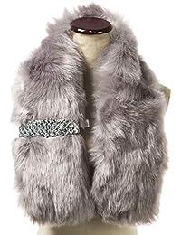 Saferin Falso invierno abrigo de la bufanda de piel sintética de las  mujeres para boda 10f0a6ab4162
