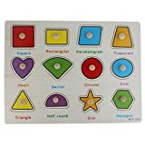 #7: 12 Shapes Matching Puzzle Picture Board With Peg Knobs Math Shapes - (1c467)