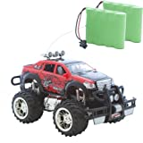 Jeep Buggy Monstertruck HOT Cross Country 1:16, Ferngesteuert, perfekt für Kinder, mit LED Licht und Akku + Zweitakku (Rot (A413))