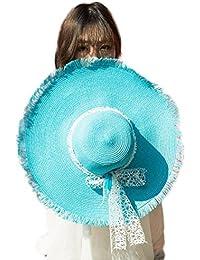 Leisial Femme Capeline Été Plage Chapeau de soleil Anti-soleil Respirant Anti UV Chapeau à large bord Chapeau de paille pour été plage Loisir Voyage
