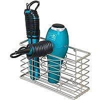 mDesign Soporte para secador de pelo – Organizador de baño de pared con 3 compartimentos – Estante multifunción para secador, rizador eléctrico y plancha – plateado mate
