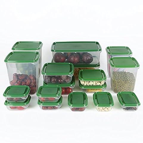 Lalilei 17pièces Plastique Lot de Boîtes de rangement pour nourriture pour réfrigérateur Green
