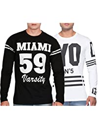 Yo Republic Mens Cotton Tshirt Combo Offer(Pack of 2)