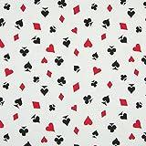 0,5m Jersey karo Pik Herz Kreuz auf weiß Motivgröße ca.