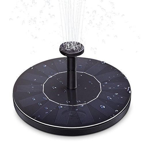 Ankway Solar Springbrunnen, Verbesserte Solarbrunnen mit 1.4W Monokristalline Solar Panel, Solar Teichpumpe mit Verschiedenen Aufsätzen für Gartenteich, Springbrunnen, Vogeltränke oder Kleiner Teich