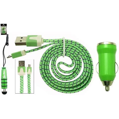 Emartbuy Intrecciato Piattina Trio Pacchetto Per Posh Mobile Icon Pro HD X551 - Verde Pallottola 1 Amp USB Auto Caricabatteria + Verde Mini Stilo + Intrecciato Verde / Viola Piattina Micro USB