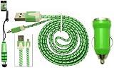 Emartbuy® 3teiliges Set aus Flachkabel Geflochten für Samsung Galaxy S3 I9300 mit Grün 1 Ampere Usb Autoladegerät + Grün Metallic Mini Eingabestift + Geflochten Grün / Lila Flaches Knotenfreies Micro USB Daten und Ladekabel