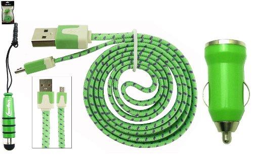 Emartbuy GeflochtenesflachTrioPackfür Phicomm Clue C630 - Grün 1 Ampere USB Autoladegerät + Grün Mini Metallic Eingabestift + Geflochten Grün / Lila Flaches Knotenfreies Micro USB Daten und Ladekabel C630 Usb