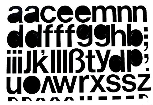 Selbstklebende Kleinbuchstaben Folie schwarz, 30 mm, 1 Bogen Anzahl der Kleinbuchstaben: a,e,g,n,s, je 2x e,l, je 3x b,c,d,h,j,k,m,o,p,q,r,t,u,v,w,x,y,z,ß, je 1x
