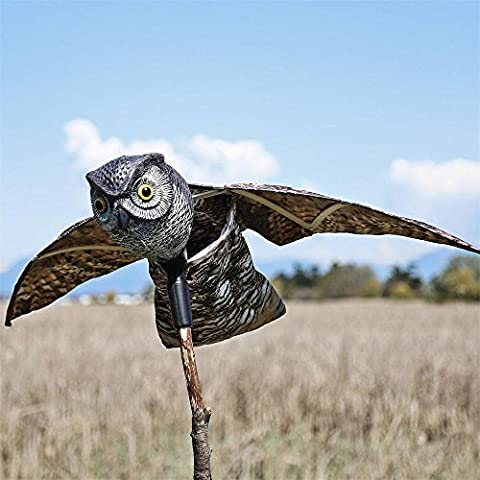 SEICOSY Bird Scarer Owl Bird Repellent - Scare Eye Owl - Horned Owl Pest Deterrent with Moving Wings - 1
