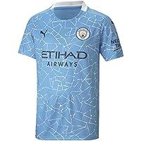 PUMA Camiseta Oficial Temporada 20/21 Home Manchester City FC Replica Sponsor Logo, Unisex niños, Team Light Blue-Peacoat, 164