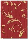 limonta–Papier-Tapete Rot Bordeaux Effekt Stoff Leinen mit Position von Ranken goldfarben glänzend, Neapolis 91705