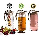 Agua jarra infusor para té, hierbas, frutas infusión, Vodka helado, Margarita, Tequila, cócteles–Único 3accesorios irrompible plástico jarra grande 2.2qt 2.1ltr capacidad–al aire libre uso en interiores
