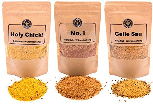 BBQ-Rub Gewürzmischung 3er-Pack in Spitzenqualität von Grill Republic®: No.1, Geile Sau und Holy Chick! I Premium Gewürz für alle Sorten von Fleisch I Unvergessliches Geschmackserlebnis durch vielfältige und hochwertige Zutaten I Geeignet für Smoker, Grill, Ofen und Pfanne I Ideal als Geschenk geeignet
