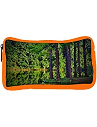 Snoogg Eco Friendly Canvas Tall Trees On The River Side Designer Student Pen Pencil Case Coin Purse Pouch Cosmetic...