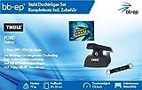 BB-EP/Thule 9856654032 Kompletter Premium Stahl-Dachträger für Ford Galaxy 5 Türer MPV 2015 bis Heute - Komplettset abschließbar - Inkl Schlüsselband und Insect Erase
