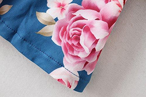 Hibluco Damen Casual 3/4 Ärmel Lang Strickjacke Blumendruck Jacke Outwear Blau