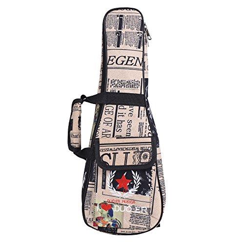 Andoer - Borsa per ukulele, 53 cm, con tracolla regolabile, in tessuto Oxford stampa giornale, con tasca da 6mm, imbottita